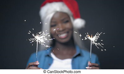 African sexy girl with white hair Happy christmas - Cute ...