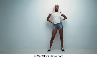 African sexy girl with white hair on white - African Pretty ...