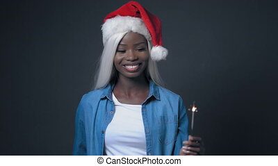 African sexy woman with white hair Happy christmas - African...