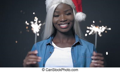 African sexy woman with white hair Happy christmas - Young ...