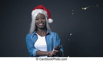 African sexy woman with white hair happy New Year - African ...