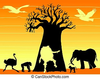 African shaman - silhouette of composition with African...