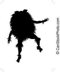 African shaman - silhouette of African shaman