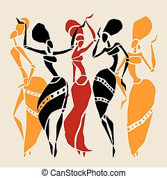African silhouette set. - Figures of african dancers....