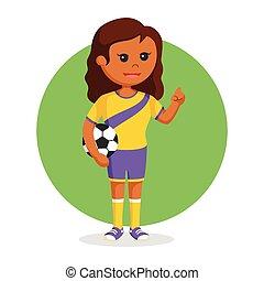 African soccer ball player girl