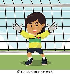 African soccer goal keeper