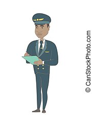 African steward holding clipboard with documents. - Young...