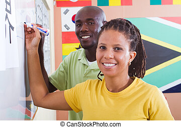 students learning Chinese language - african students...