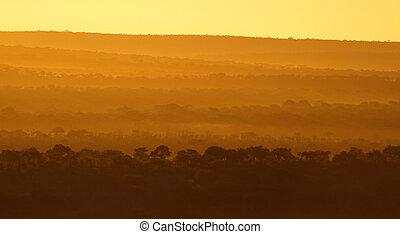 African sunrise. Beautiful sunrise over Tarangire national...