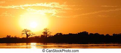 African sunset - African landscape, Senegal, sine saloum