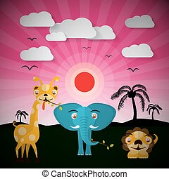 African Sunset Landscape with Elephant, Lion and Giraffe Wild Animals Vector Illustration