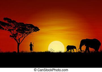African Sunset with elephants and a Massai Warrior