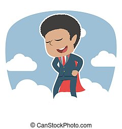 African super businessman on clouds