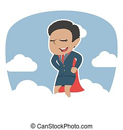 African super businesswoman on clouds