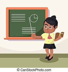 African teacher teaching illustration
