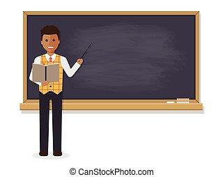 African teacher teaching in classroom