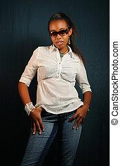 African teen girl standing