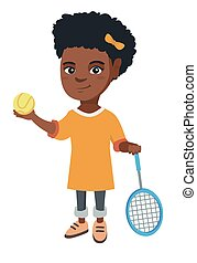 African tennis player holding racket and ball.