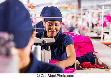 textile factory workers on production line