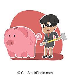African thief businesswoman want to break piggy bank