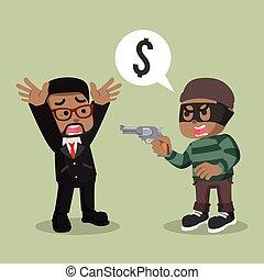 African thief robbing a man