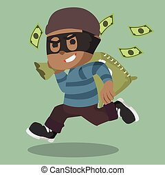 African thief running carrying bag of money