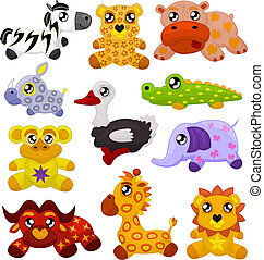 African toy animals - Set of eleven african cute toy...