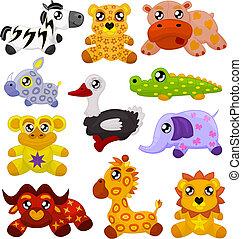 Set of eleven african cute toy animals: a zebra, a leopard, a hippopotamus, a rhinoceros, an ostrich, a crocodile, a monkey, an elephant, a buffalo, a giraffe and a lion.