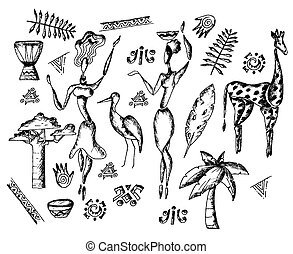 African Traditional Sketch Drawn Doodle Vector Set