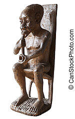 African traditional statuette of an old man smoking a pipe, from Gabon