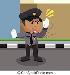African traffic police illustration