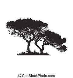 African tree in silhouette. Stock Vector illustration ...