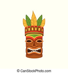 African tribal mask, traditional authentic symbol of Africa with ethnic ornament vector Illustration on a white background