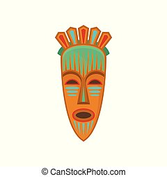 African tribal mask with ethnic ornament, authentic symbol of Africa vector Illustration on a white background