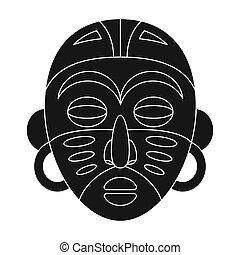 African tribal mask.African safari single icon in black style vector symbol stock illustration web.