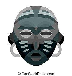 African tribal mask.African safari single icon in monochrome style vector symbol stock illustration web.