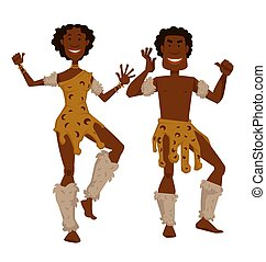 African tribe man and woman in animal skin and fur dancing