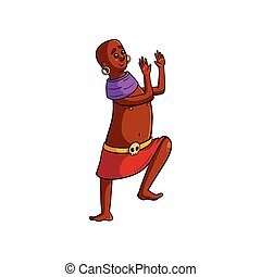 African tribe man skull medallion dancing with clapping hands