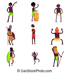 African Tribe Members Dancing And Doing Religious Rituals In Leaf Loincloths Set Of Smiling Cartoon Characters