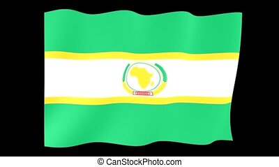 African Union flag. Waving - Flag animation for using in...