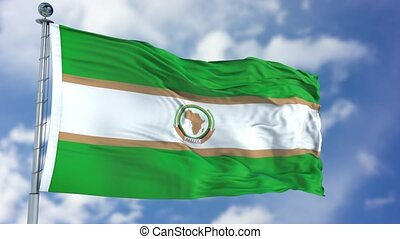 African Union Waving Flag - African Union flag waving...