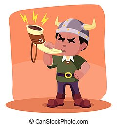 African viking blowing war horn