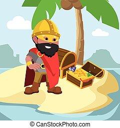 African viking leader with treasure