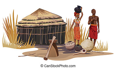 African Village - African man and woman in an African...