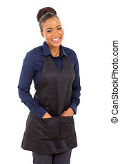 african waitress half length portrait - friendly waitress...