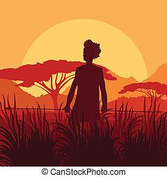 African warrior in wild nature landscape background