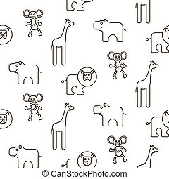 African wild animals kid seamless pattern vector.