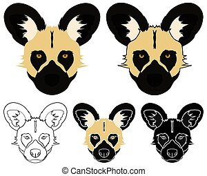 African wild dog in face view. Vector art.