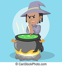 African witch cooking potion