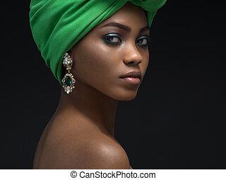 Beautiful african woman in the studio